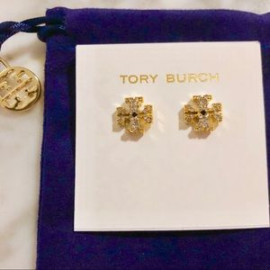 NEW Tory Burch Gold Crystal Logo Stud Earrings